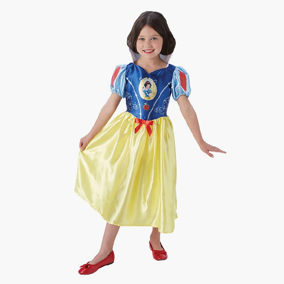 Snow White Costume Dress with Puff Sleeves and Bow Detail