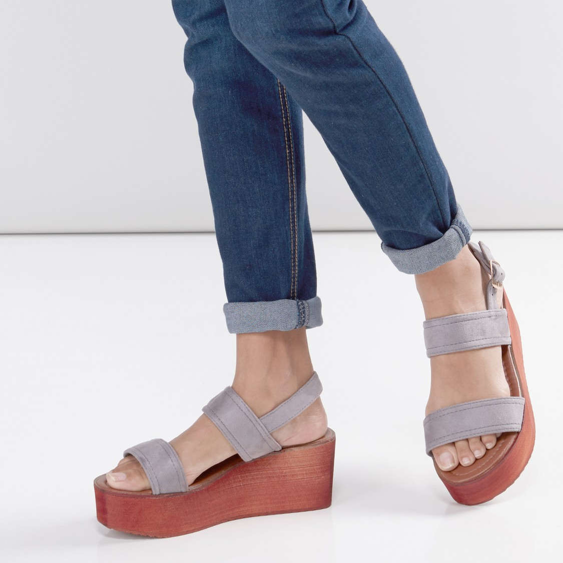Dual-Strap Wedges with Pin Buckle Closure