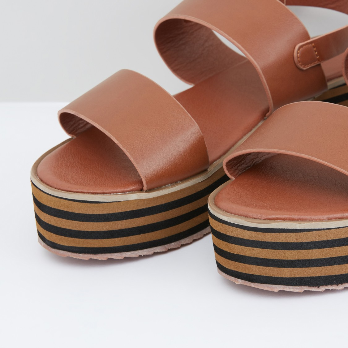 Dual Strap Wedges with Pin Buckle Closure
