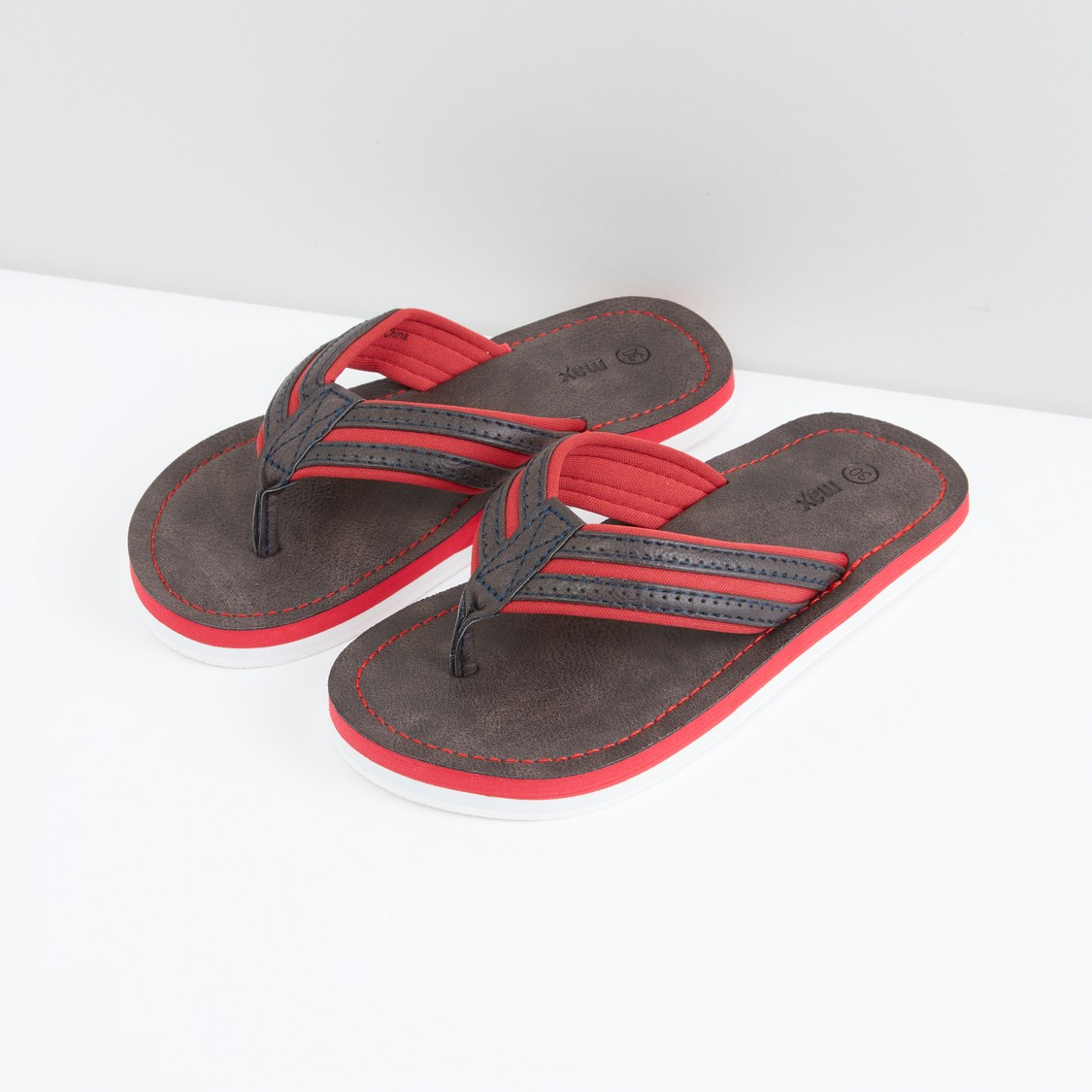 Textured Stitch Detail Flip Flops with Broad Straps