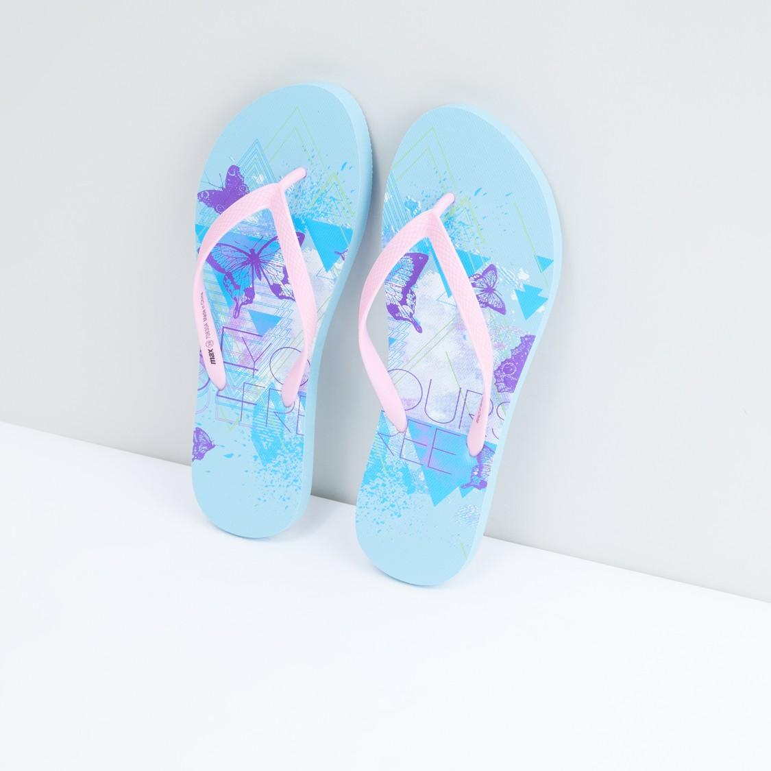 Butterfly Printed Flip Flops