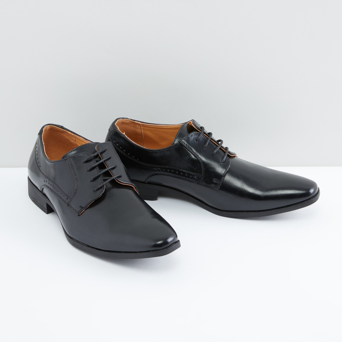 Perforated Lace-Up Derby Shoes with Stitch Detail