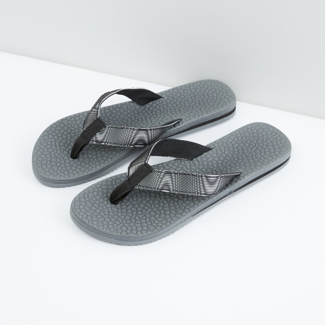 Textured Flip Flops with Broad Straps