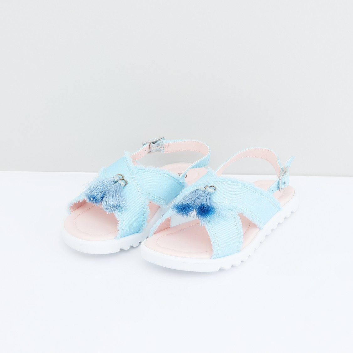 Cross Strap Sandals with Tassels and Pin Buckle Closure