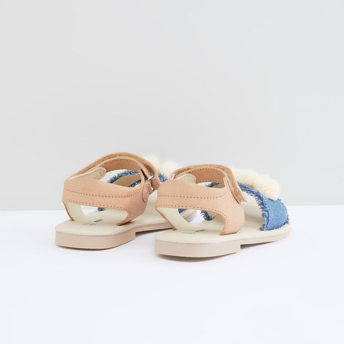 Pom-Pom Applique Detail Sandals