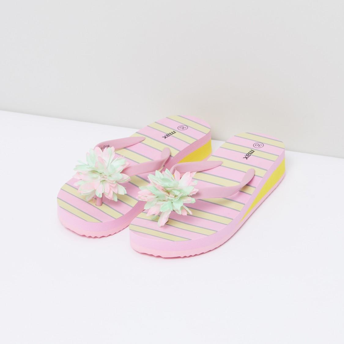 Striped Flip Flops with Flower Detail