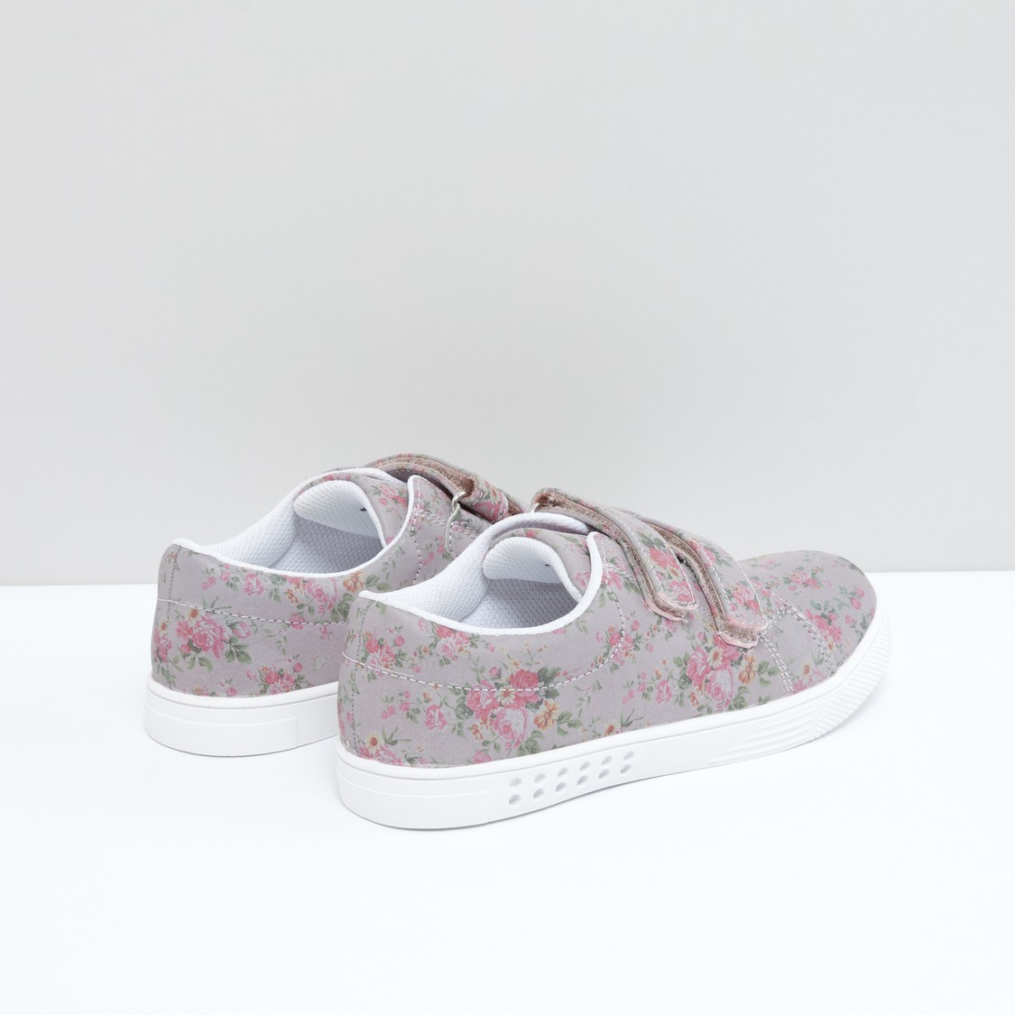 Floral Printed Shoes with Hook and Loop Closure