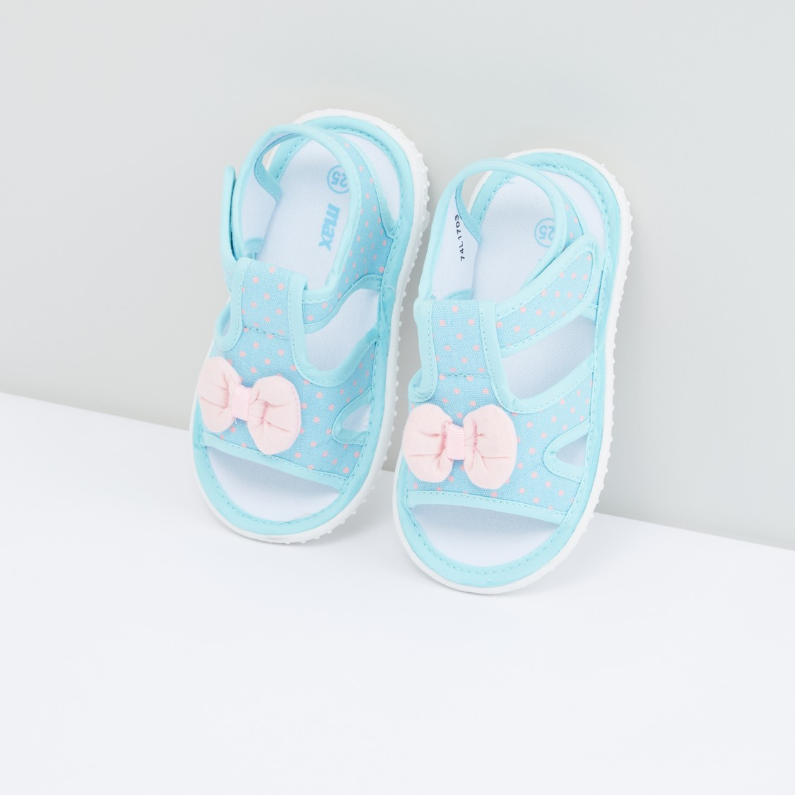 Polka Dot Printed Sandals with Bow Detail