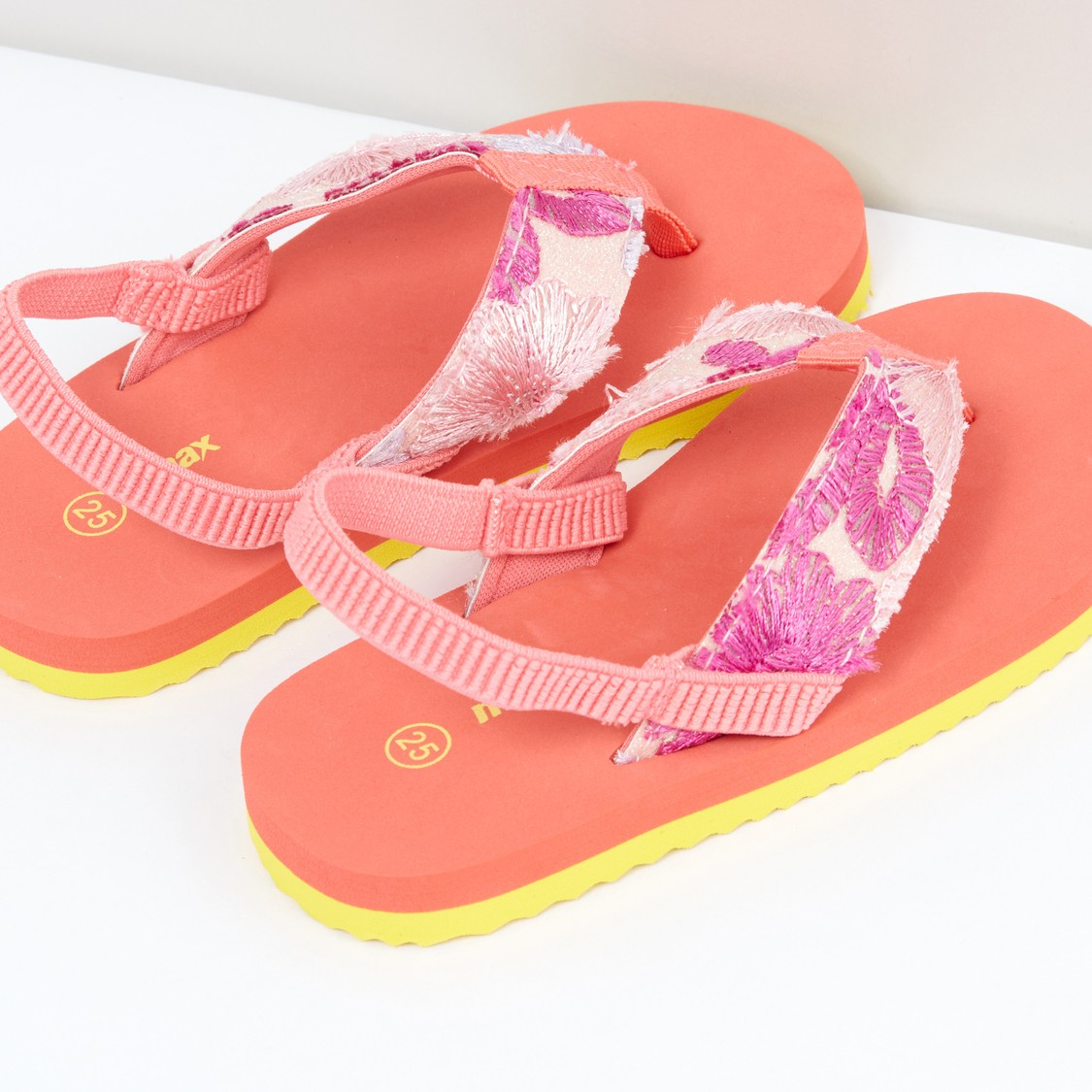 Embroidered Flip Flops with Elasticised Backstrap
