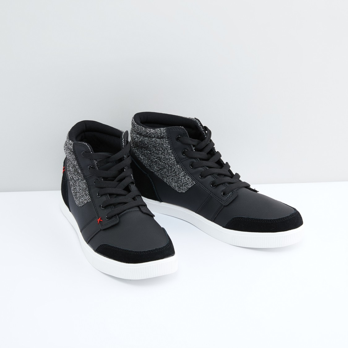 Textured Lace-Up Boots