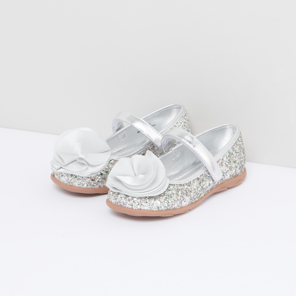 Flower Applique Detail Mary Jane Shoes with Hook and Loop Closure