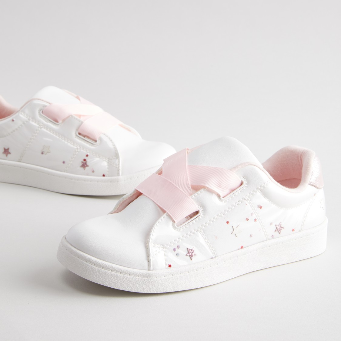 Printed Lace-Up Shoes with Applique Detail