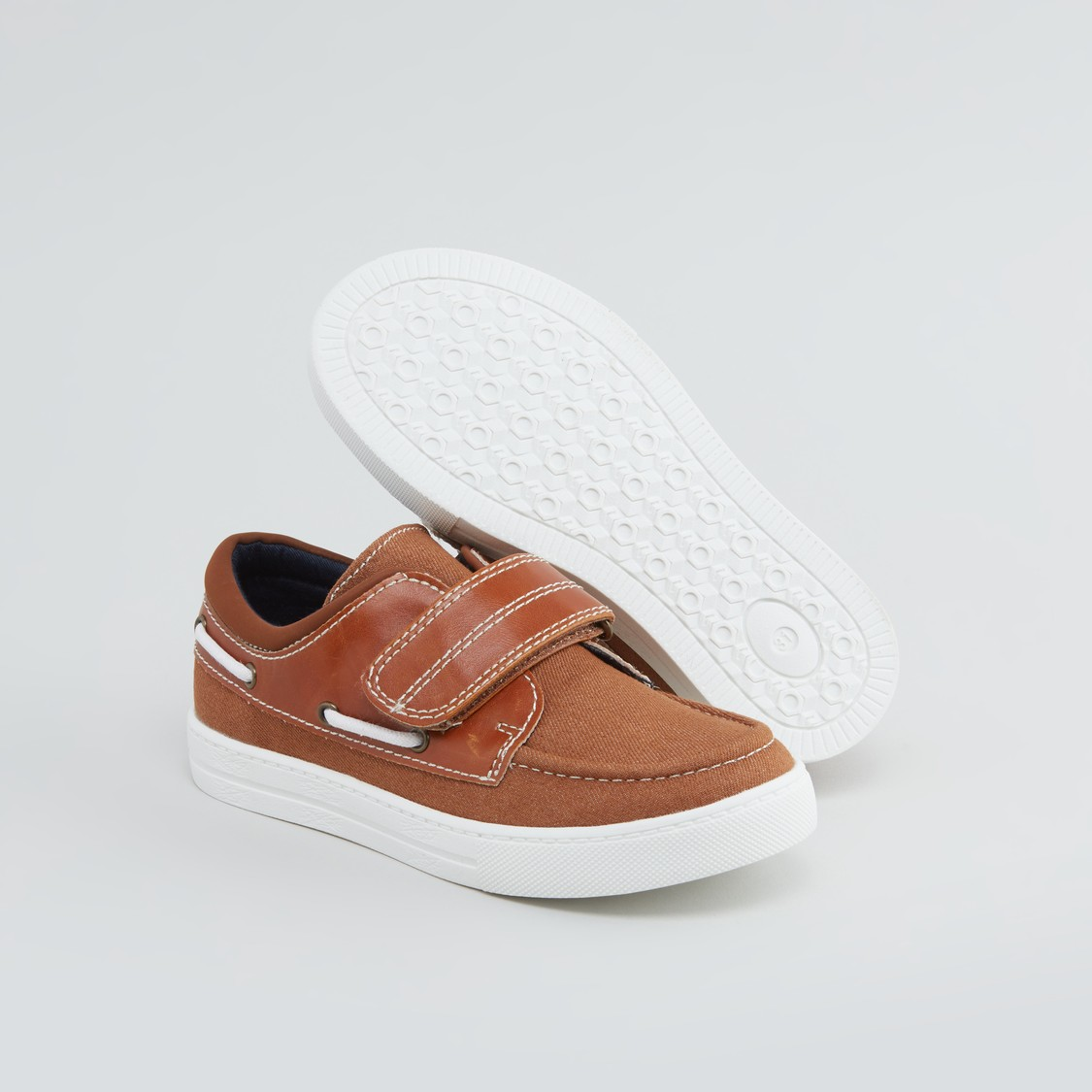 Textured Boat Shoes with Hook and Loop Closure