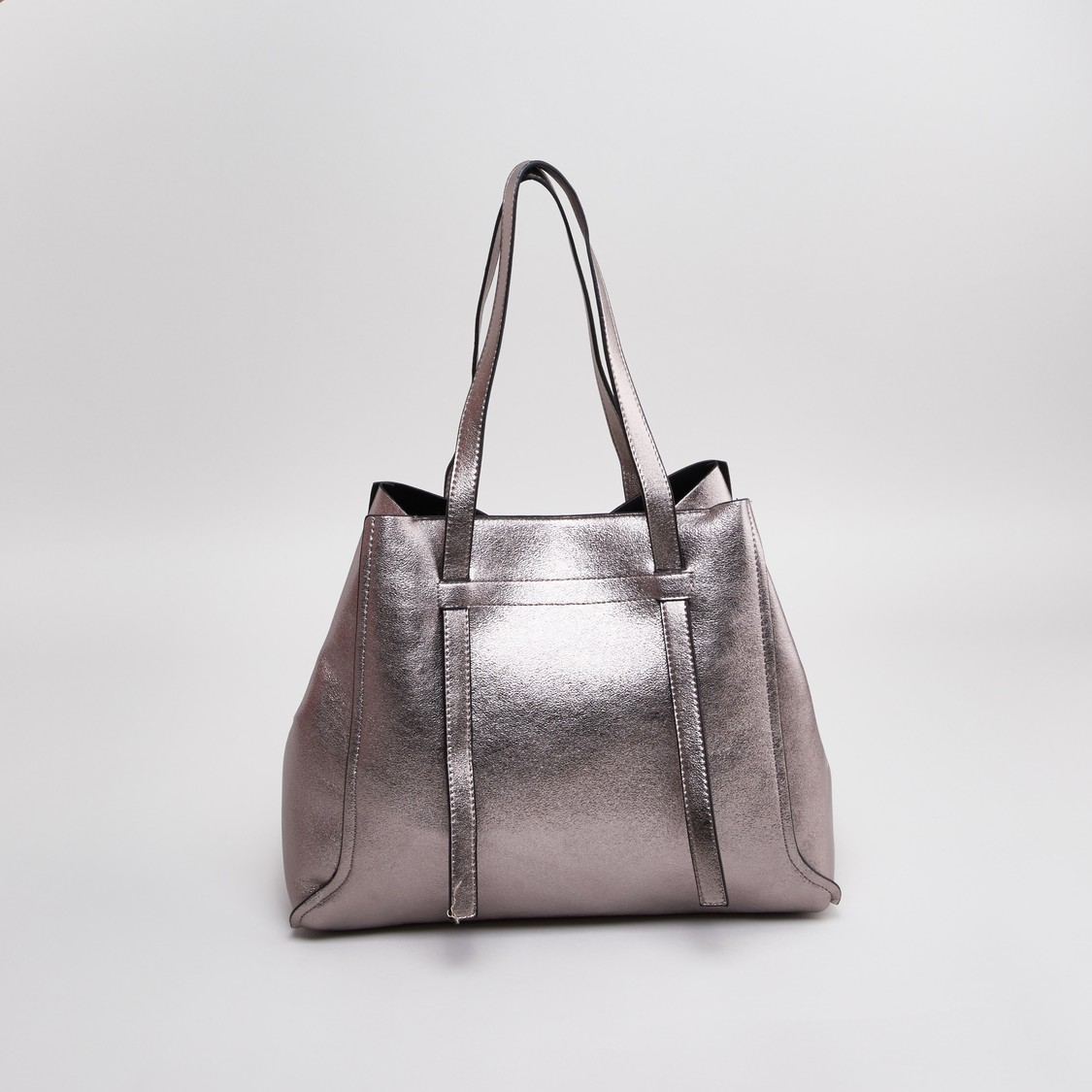 Textured Handbag with Magnetic Snap Closure