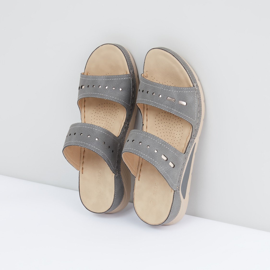 Cutout and Stitch Detail Sandals
