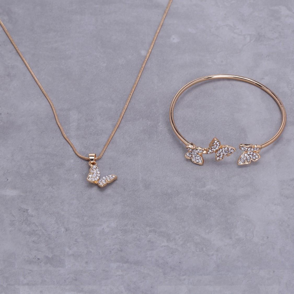 Embellished Necklace and Bracelet Set