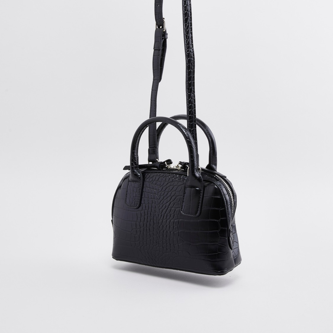 Textured Crossbody Bag with Twin Handles