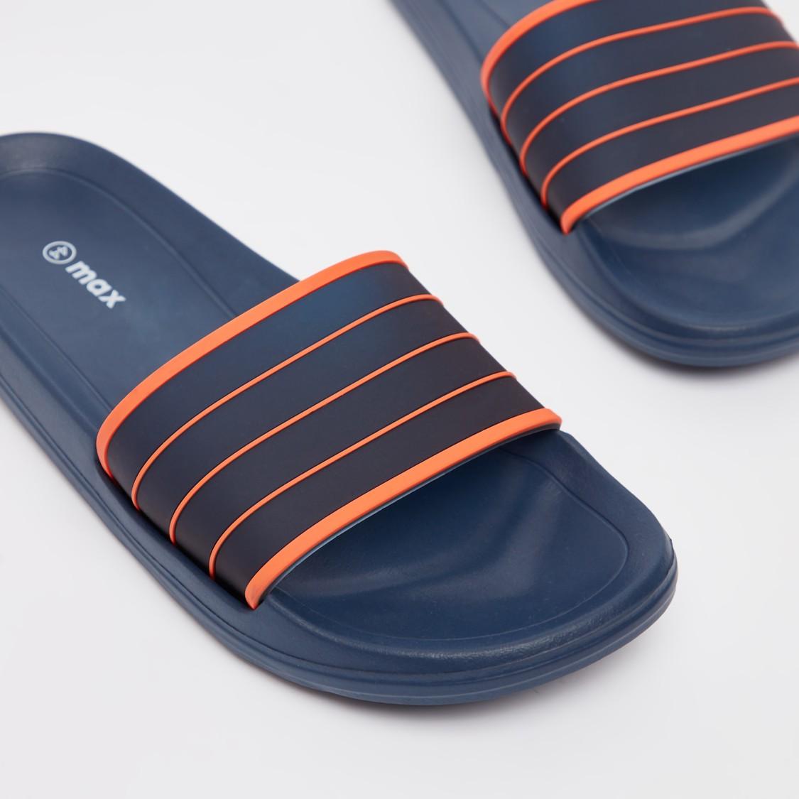 Solid Slip-On Slides with Vamp Band