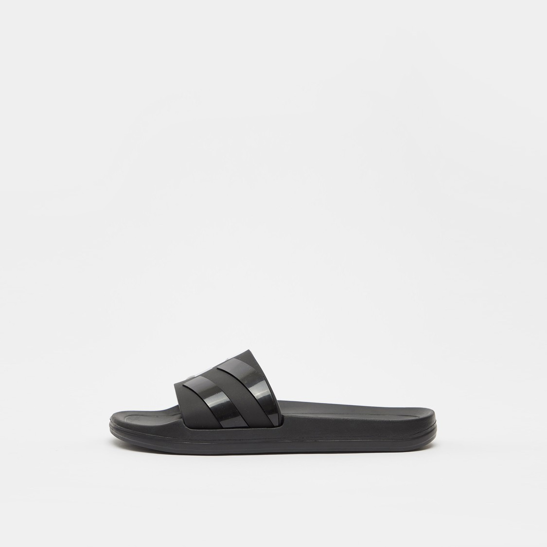 Solid Slides with Striped Vamp Band