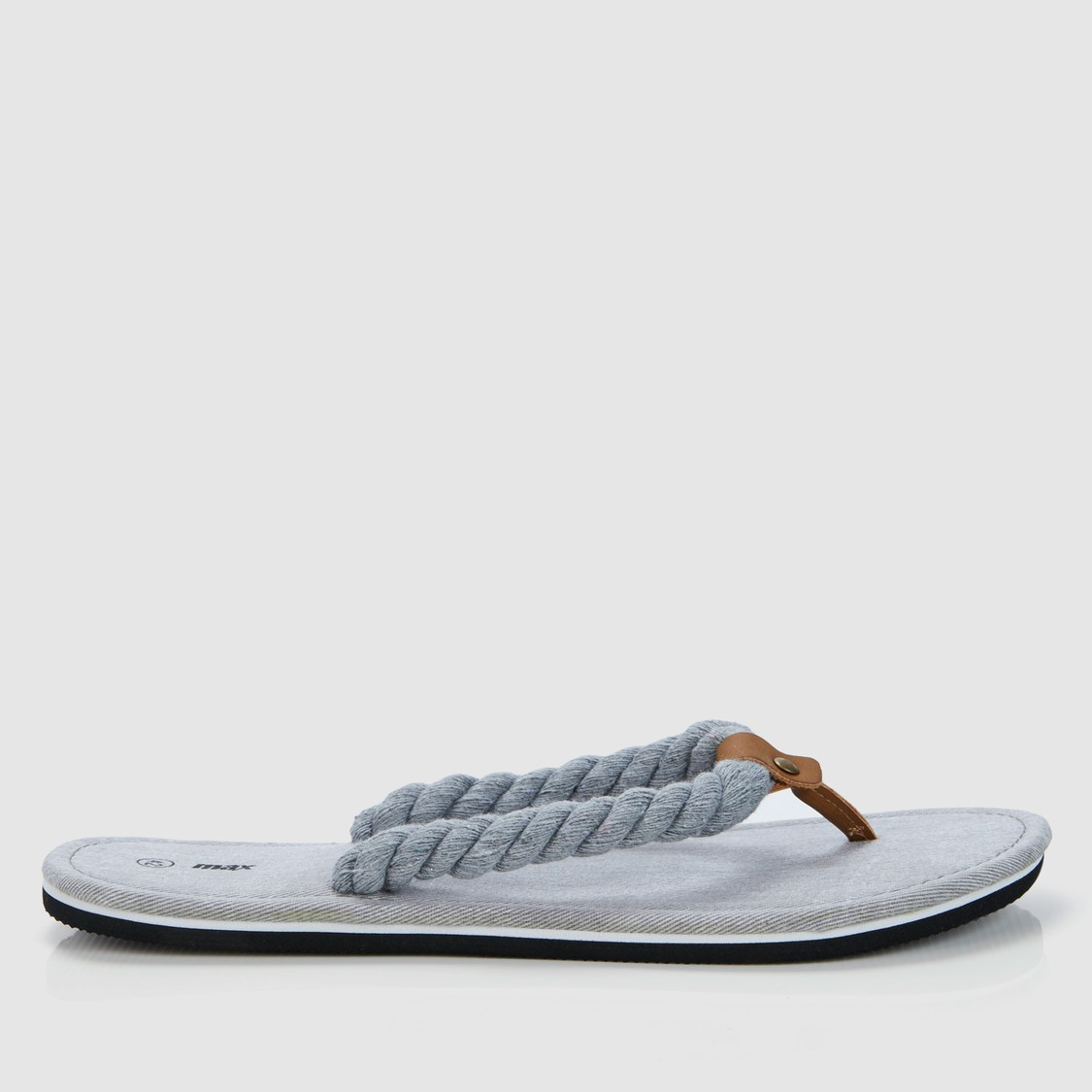 Textured Flip Flops with Braided Straps