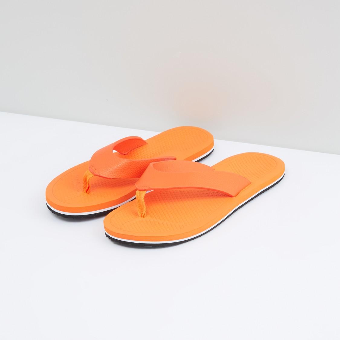 Textured Flip Flops with Broad Straps