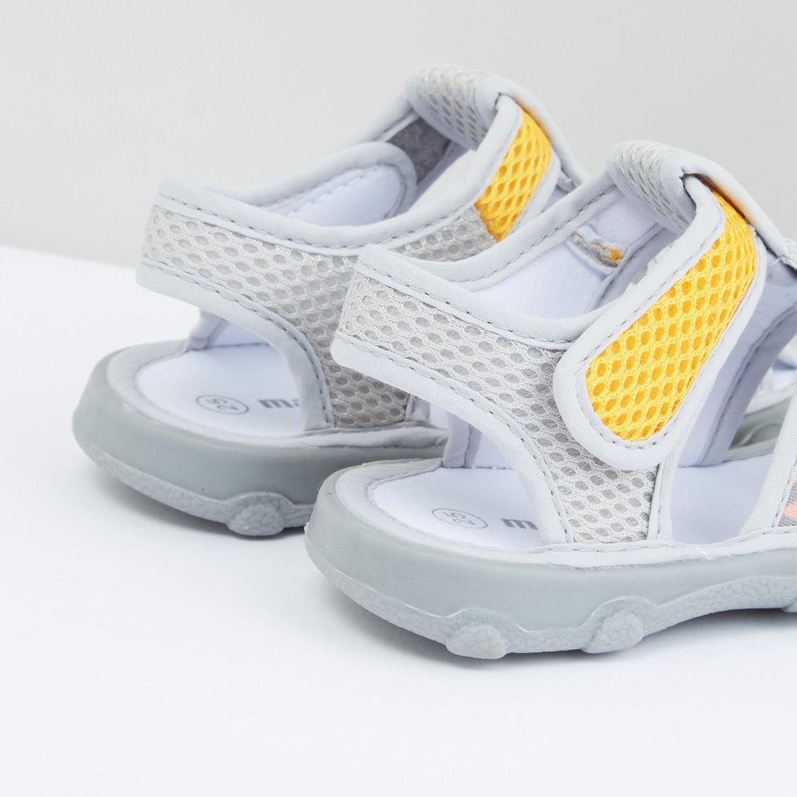 Mesh Detail Sandals with Hook and Loop Closure