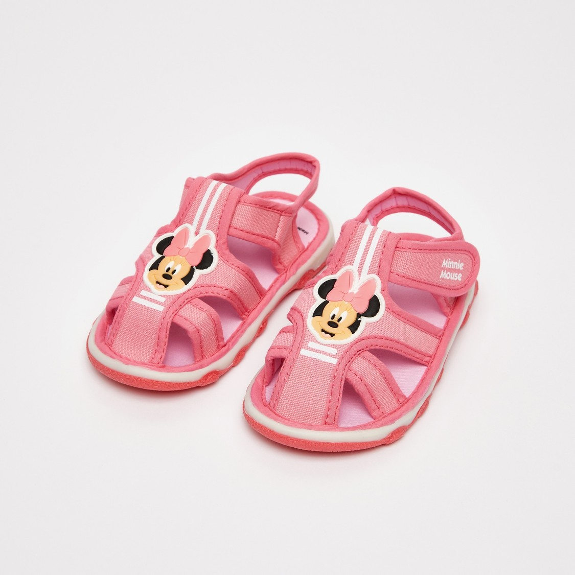 Minnie Mouse Print Sandals with Hook and Loop Closure