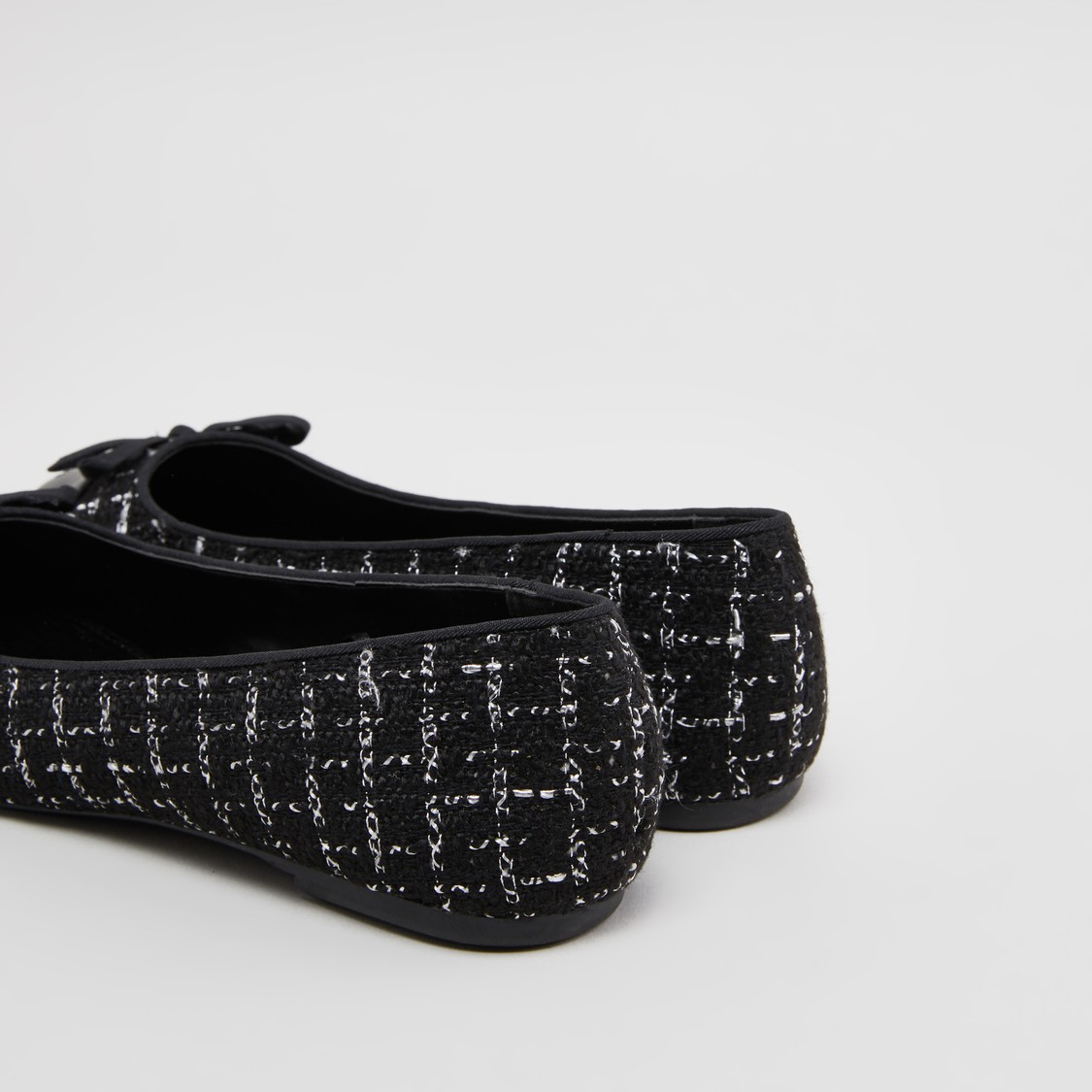 Textured Ballerinas with Bow Applique Detail