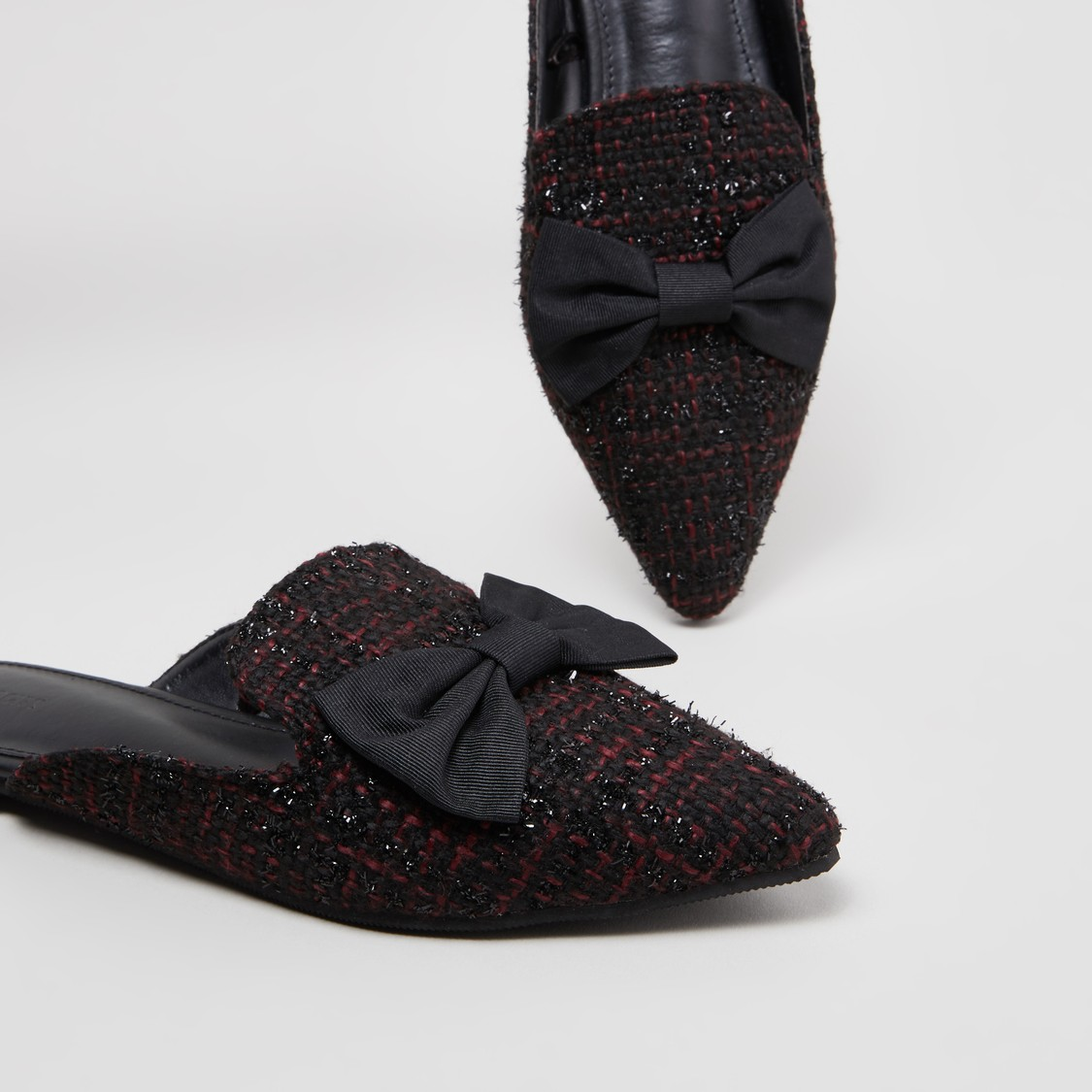 Textured Slip-On Mules with Bow Applique Detail