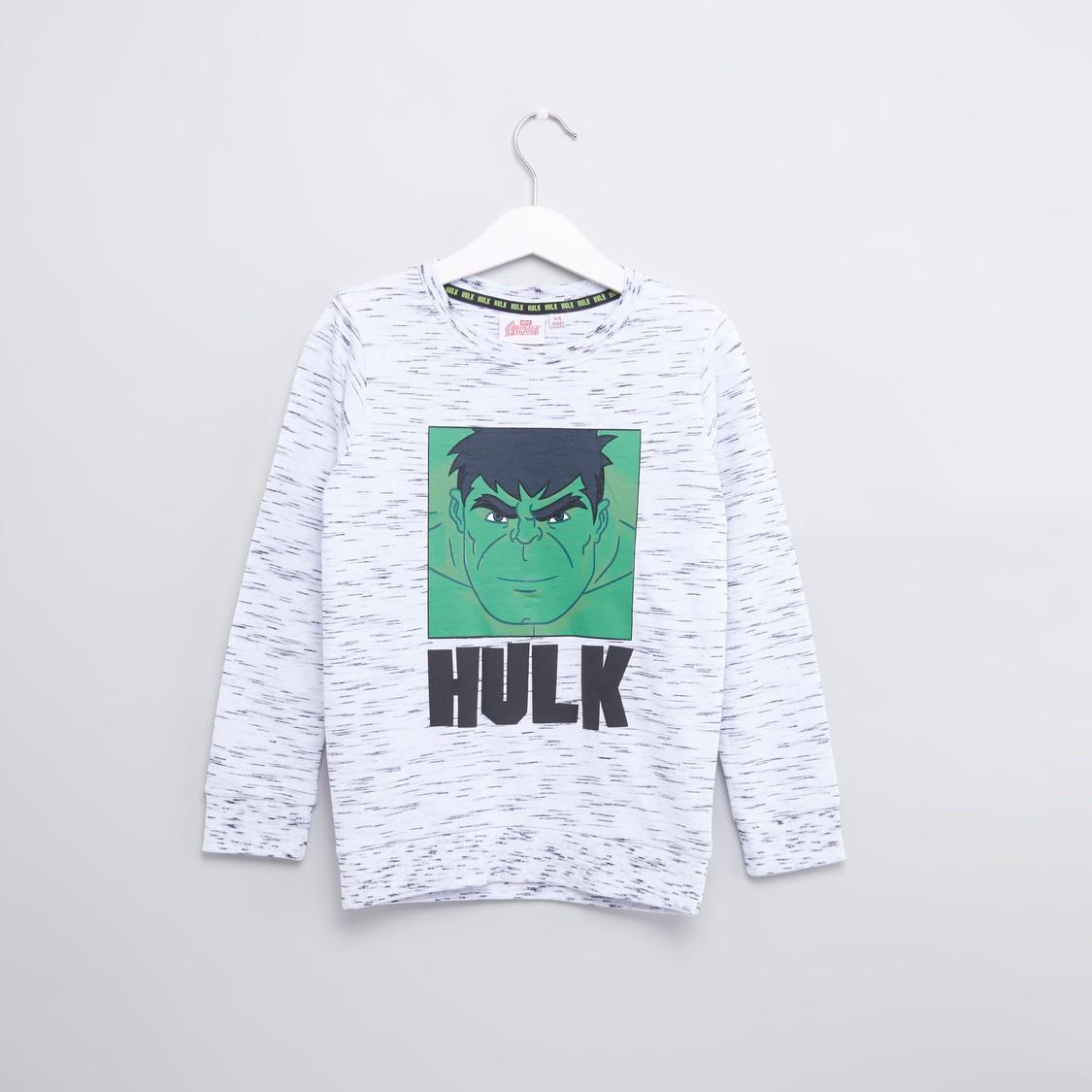 Hulk Printed Sweatshirt with Round Neck and Long Sleeves