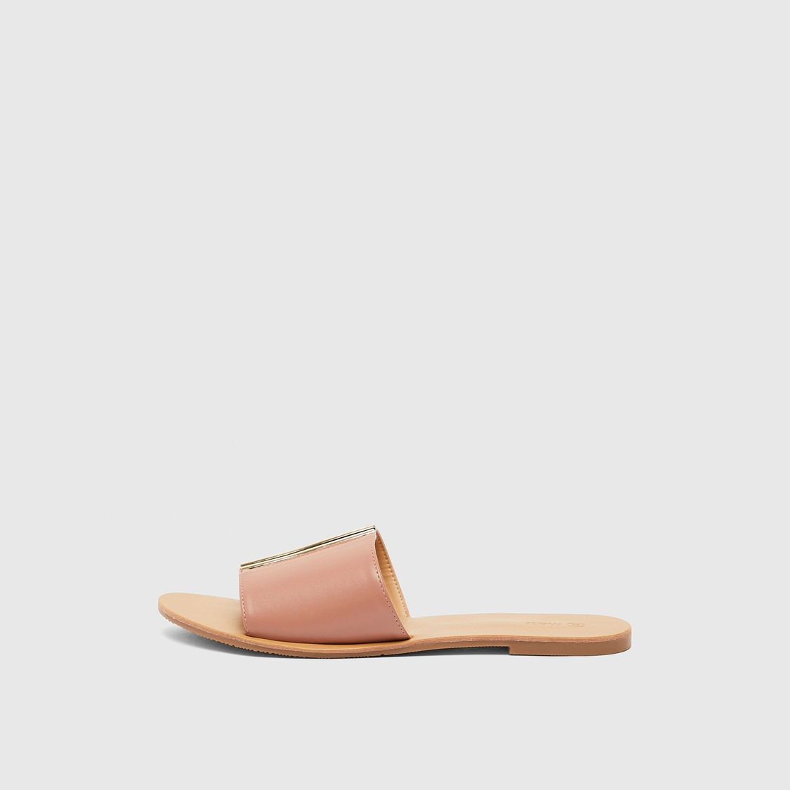 Solid Flat Heel Slides with Metal Detail