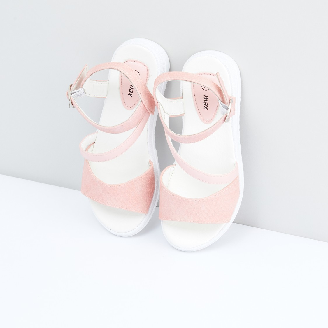 Textured Sandals with Ankle Strap and Buckle Closure
