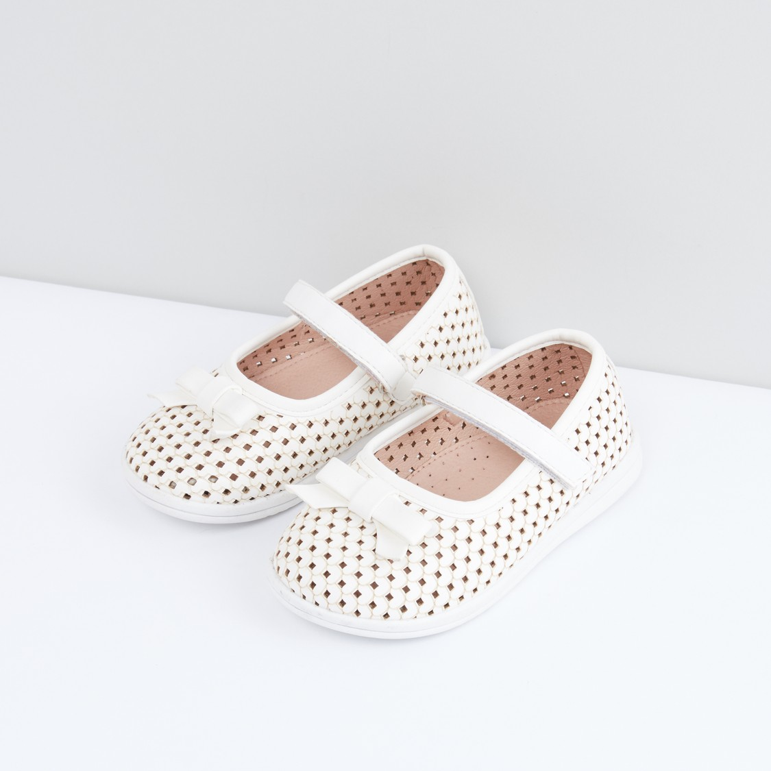 Laser Cut Shoes with Bow Detail and Hook and Loop Closure