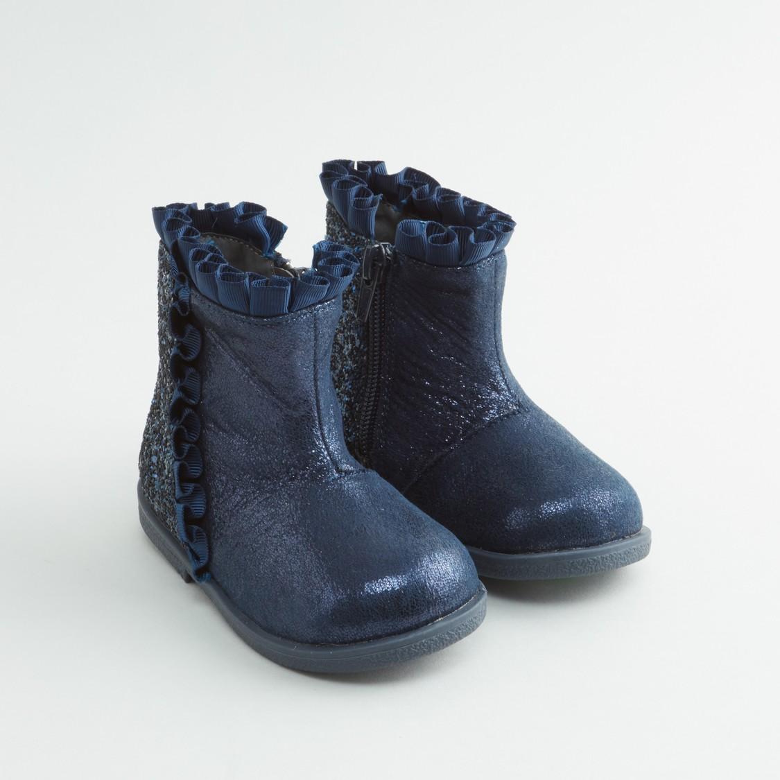 حذاء طويل بتفاصيل جليتر بسحّاب إغلاق
