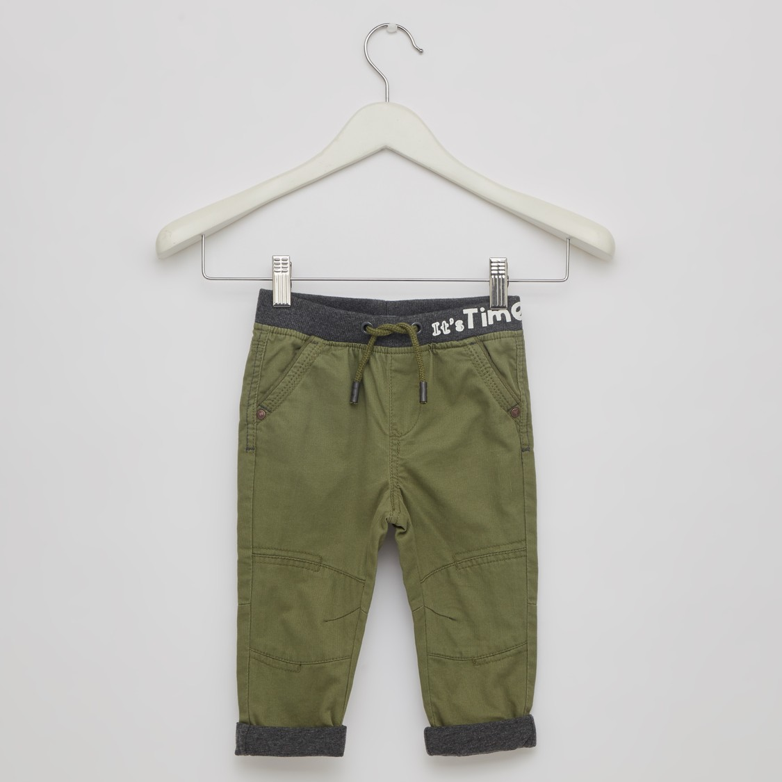 Solid Joggers with Drawstring Tie Up