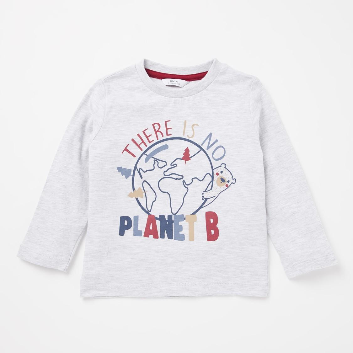 Bear Print T-shirt and Striped Shirt Set