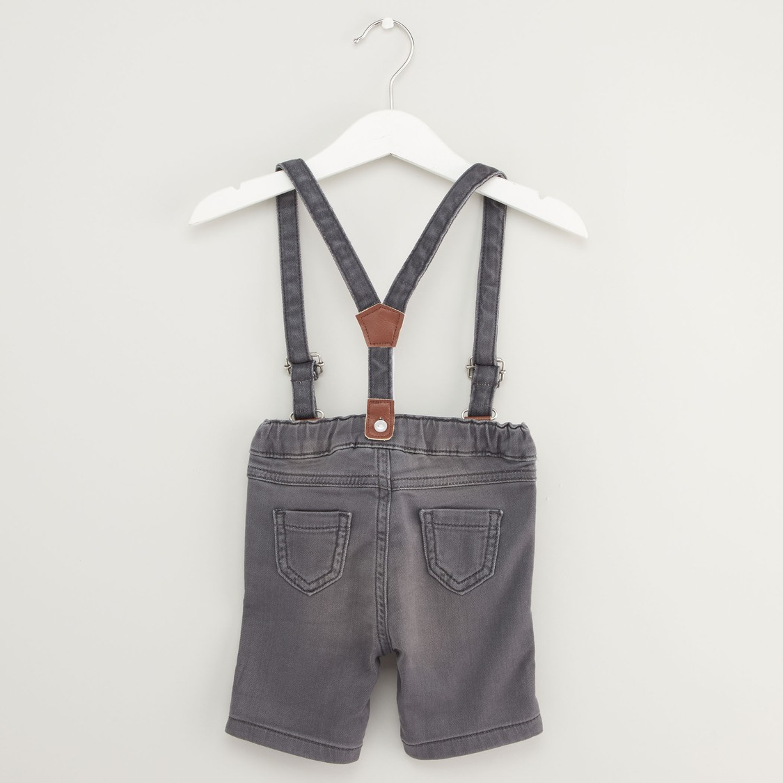Textured Denim Shorts with Suspenders