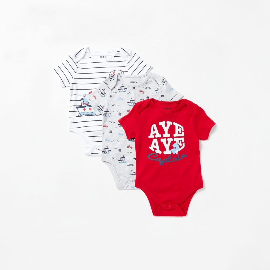 Pack of 3 - Nautical Print Bodysuit with Short Sleeves
