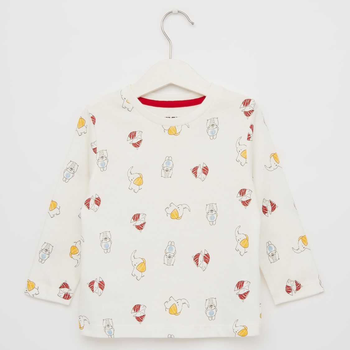 All Over Print Round Neck T-shirt with Long Sleeves