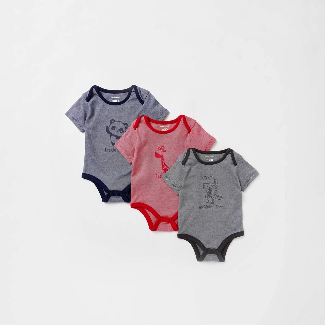 Set of 3 - Animal Print Organic Bodysuit with Short Sleeves