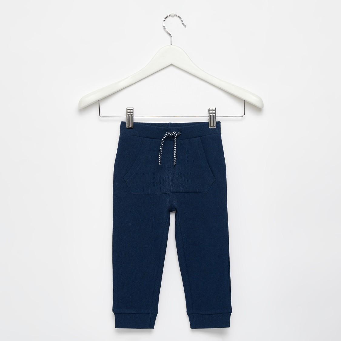 Textured Jog Pants with Pocket Detail and Drawstring Closure