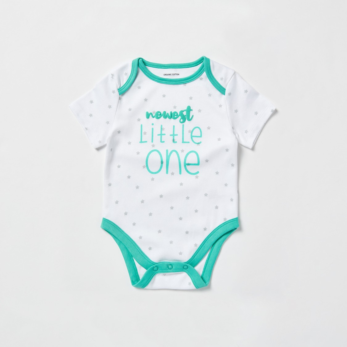 Set of 3 - Text Print Bodysuits with Round Neck and Short Sleeves