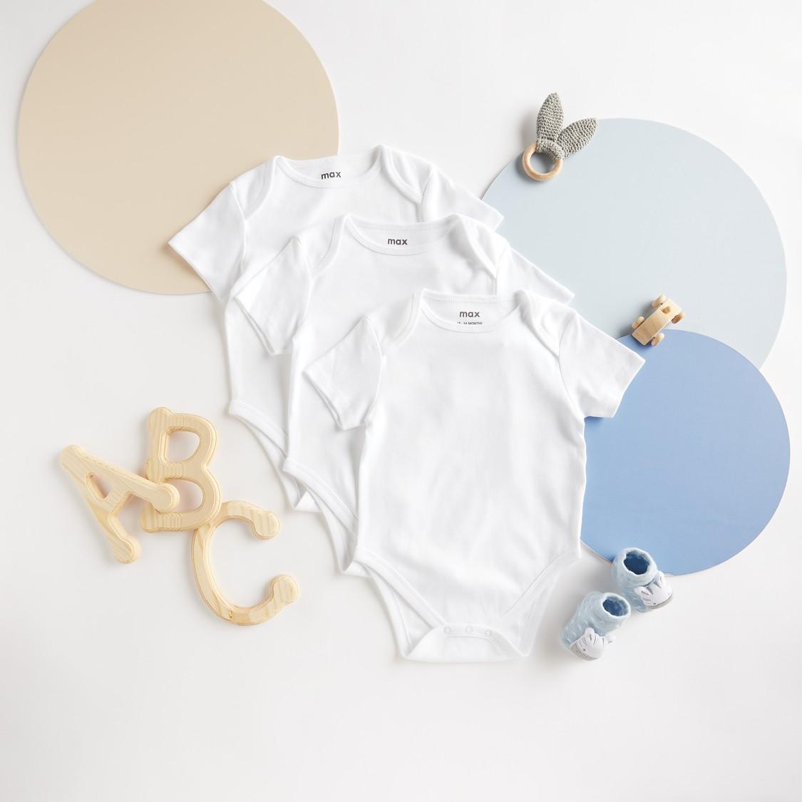 Set of 3 - Plain Bodysuit with Short Sleeves