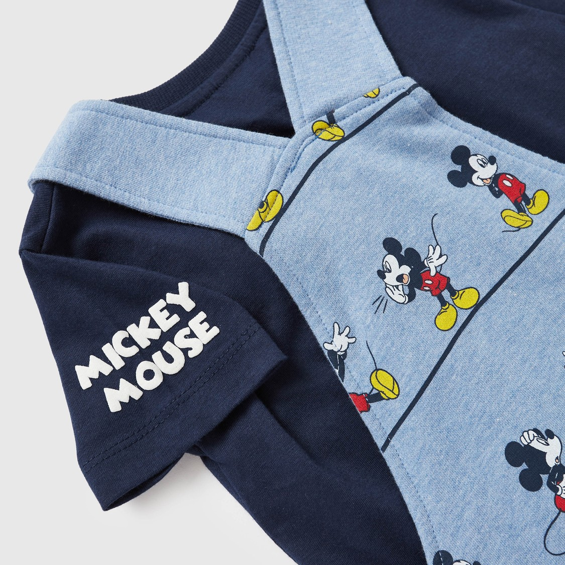 Mickey Mouse Print T-shirt and Dungaree Set