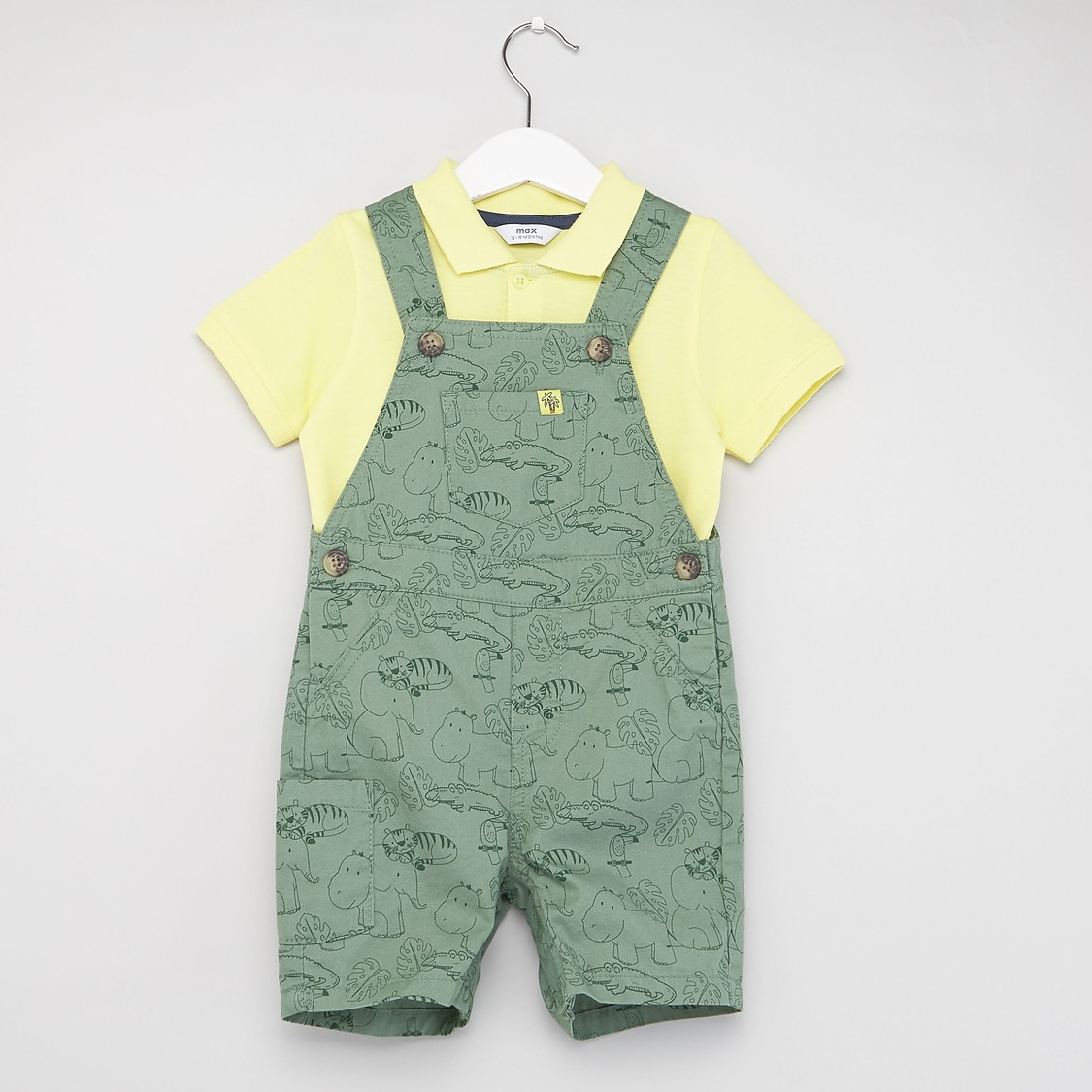 Solid Polo T-shirt with Printed Dungarees