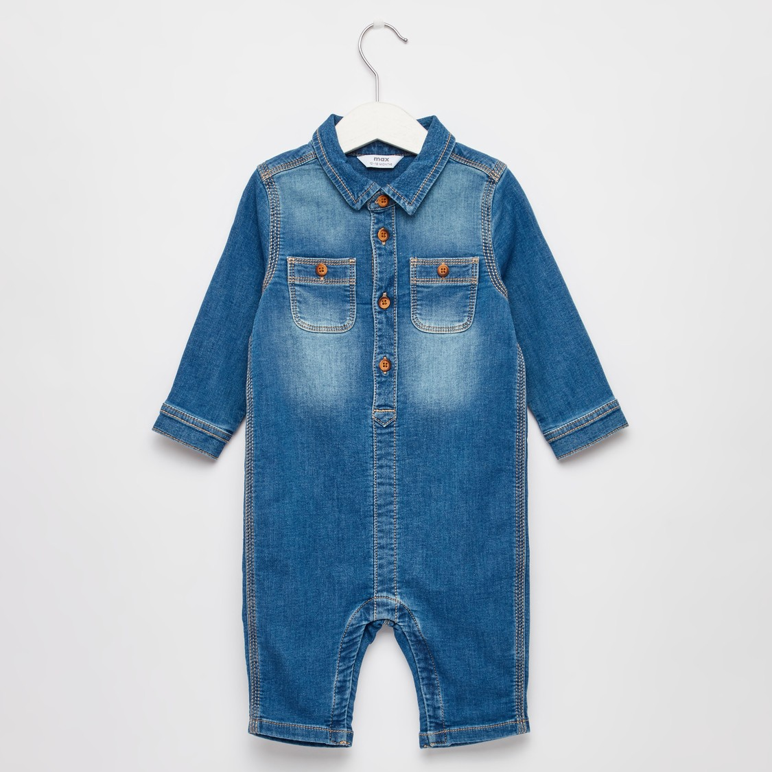 Solid Collared Denim Romper with Long Sleeves
