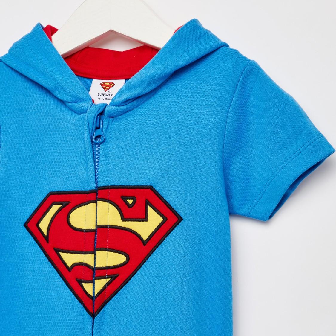 Superman Print Hooded Romper with Short Sleeves