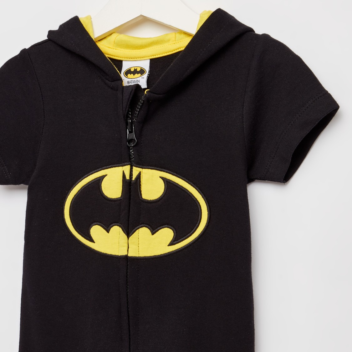 Batman Print Hooded Romper with Short Sleeves