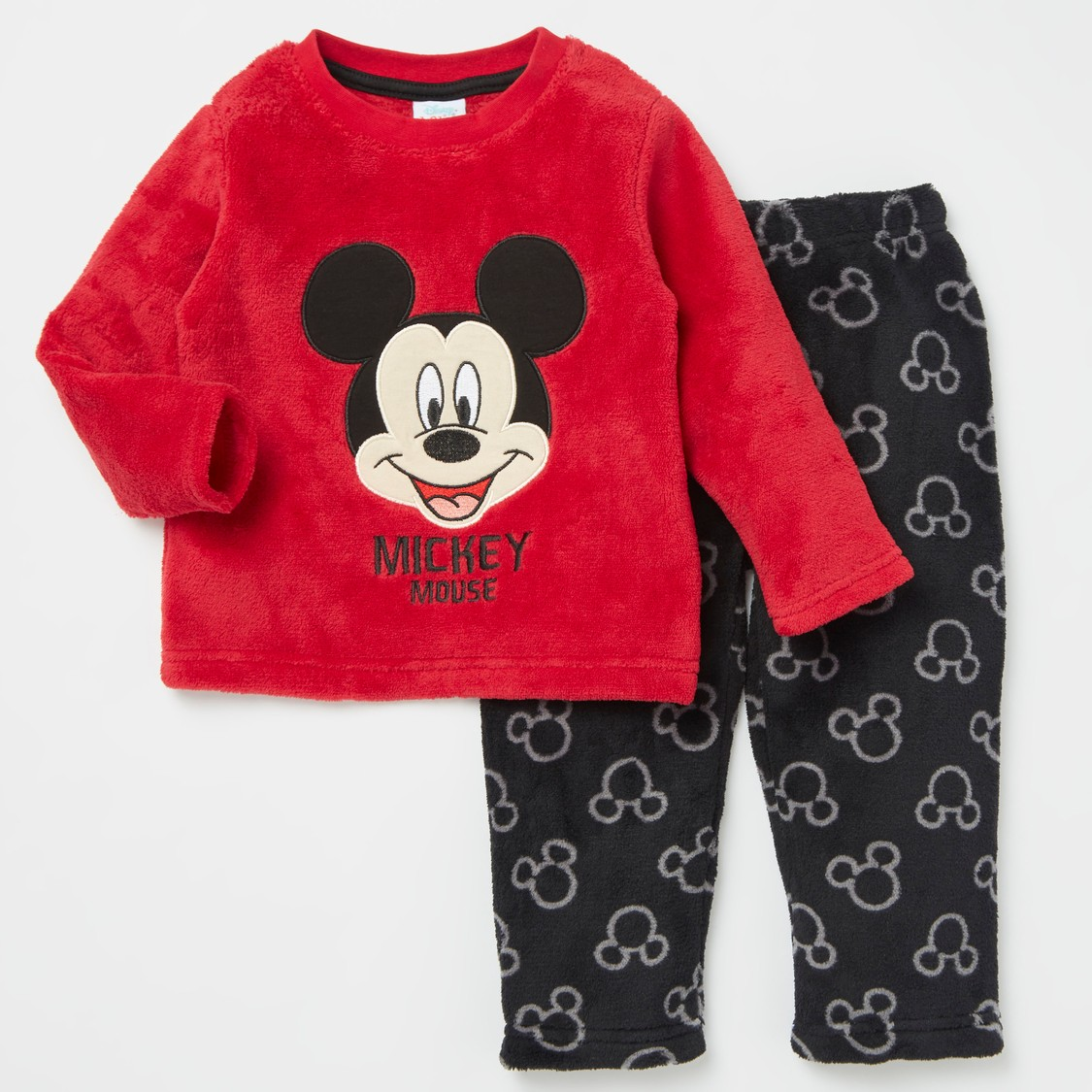 Mickey Mouse Embroidered Detail T-shirt and All-Over Print Pyjama Set