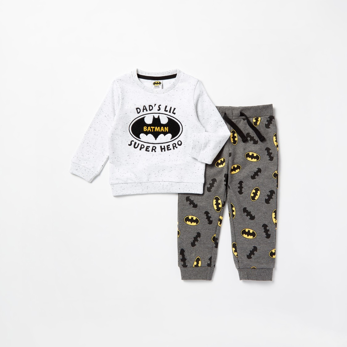 Batman Print Long Sleeves Sweatshirt and Jog Pants Set